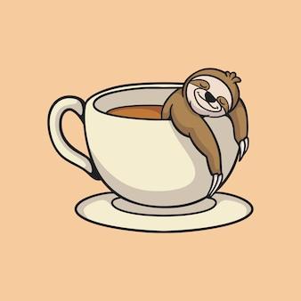 Pereza de dibujos animados remojar en un vaso de café