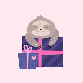 Perezoso de cumpleaños con caja de regalo.