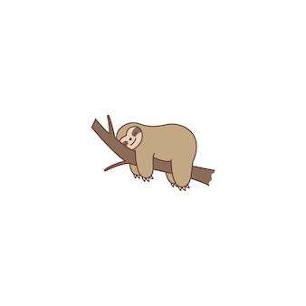 Perezoso perezoso durmiendo en un icono de dibujos animados de rama