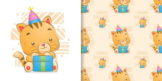 Perfecta de gatito celebrar cumpleaños con ilustración de caja de regalo grande Vector Premium