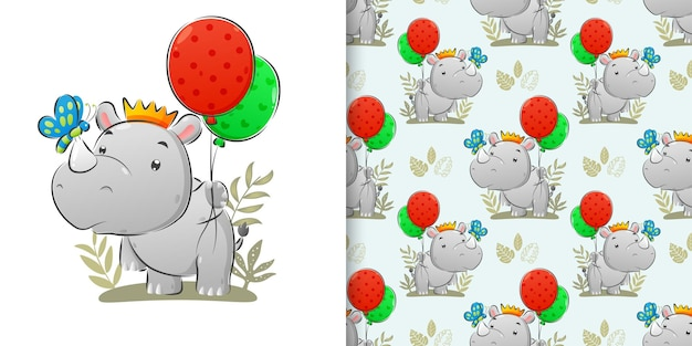 La perfecta ilustración del rinoceronte sosteniendo el globo de colores y atrapa la mariposa