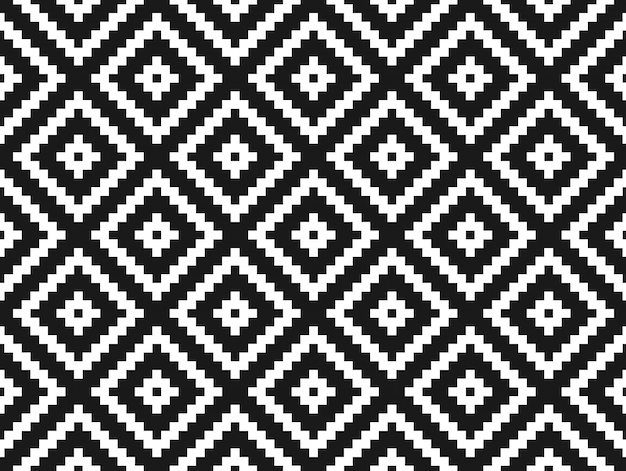 Perfecta textura con estilo moderno y patrón. azulejos geométricos blancos repetidos con rombo punteado sobre un fondo negro.