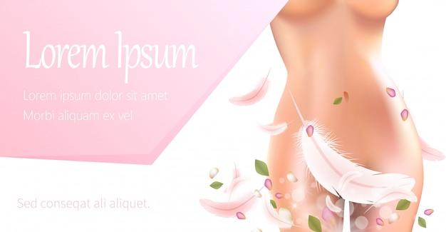 Perfecto cuerpo femenino con pluma en el área de bikini