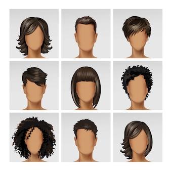 Perfil de avatar de cara femenina masculina multinacional