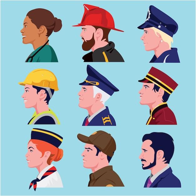 Perfil de avatares de personas en diferentes profesiones.