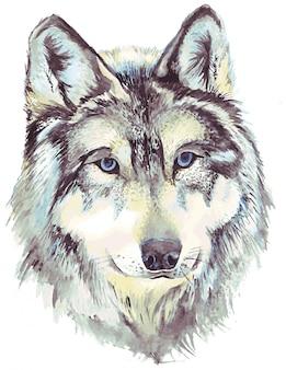 Perfil de cabeza de lobo
