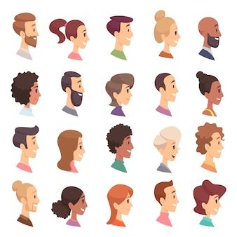 Perfil de caras. avatares personas expresan cabezas simples ilustraciones de dibujos animados de personas masculinas y femeninas. perfil masculino y femenino, la gente se enfrenta al usuario feliz