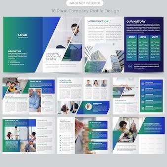Perfil de la empresa de 16 páginas diseño del folleto