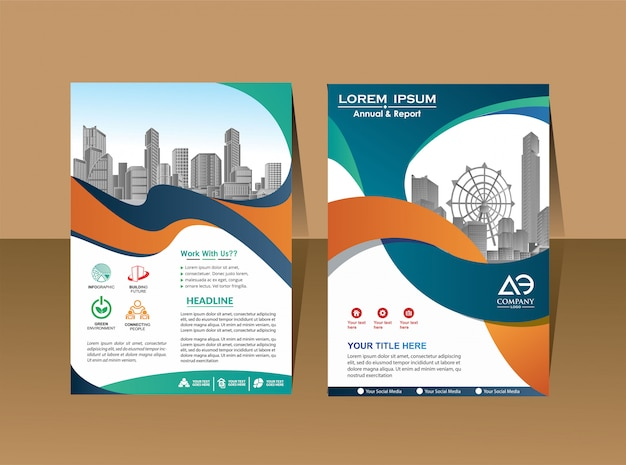 Perfil de la empresa. cartel de la revista. informe anual y portada del folleto.