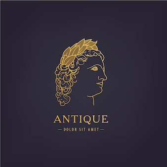 Perfil de un hombre, un griego antiguo en una corona de laurel. logotipo de estilo dorado de contorno.