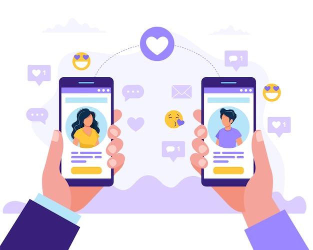 Perfil de hombre y mujer con teléfonos inteligentes entre sí