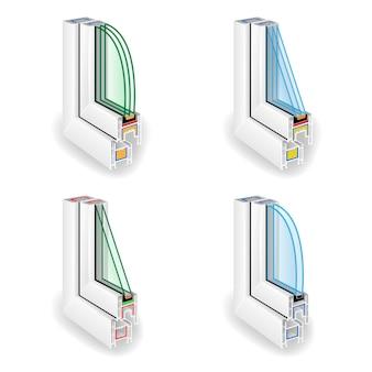 Perfil de marco de ventana de plástico