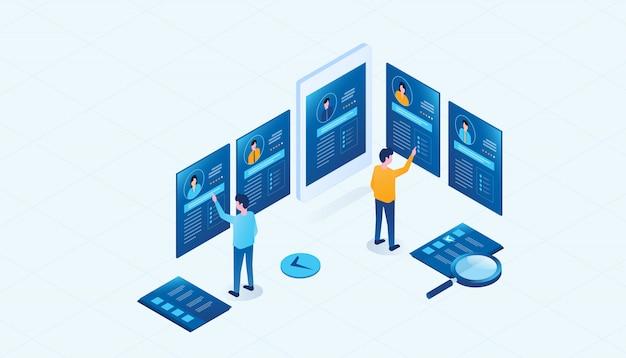 Perfil de personas de investigación de equipo de negocios isométrica para el concepto de contratación