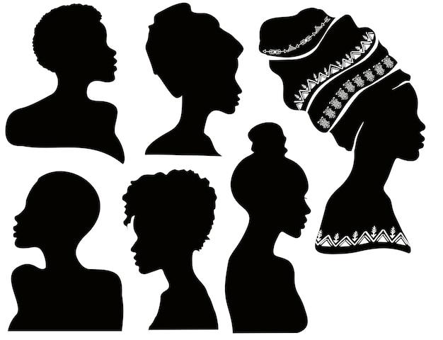 Perfiles de mujeres negras siluetas de mujeres afroamericanas en una envoltura de cabeza hermosas chicas negras