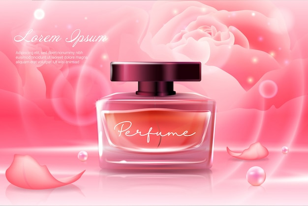 Perfume en botella cosmética de vidrio rosa rosa con tapa oscura ilustración realista