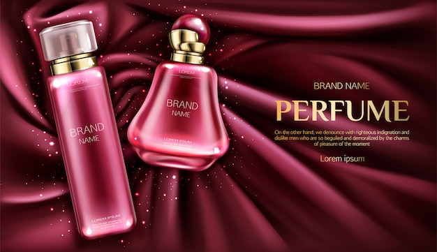 Perfume botellas de desodorante en terciopelo vórtice o tela de seda de fondo.