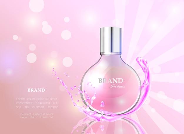 Perfume de estilo realista en una botella de vidrio.