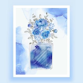 Perfume con flor azul ilustración acuarela