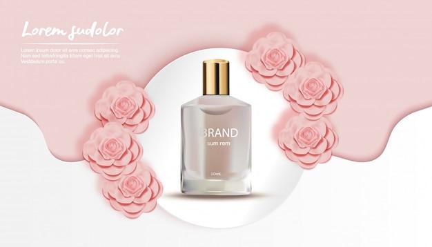 Perfume con flor de durazno ola blanca y círculo de fondo-flor papel cortado banner