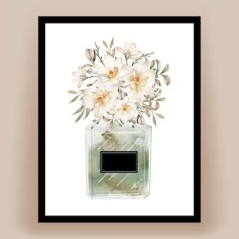 Perfume con flor de magnolia ilustración acuarela