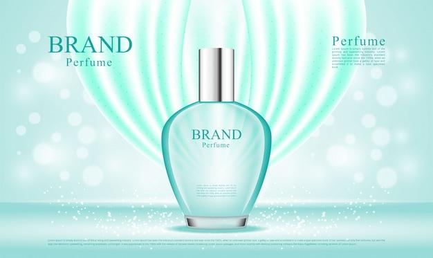 Perfume de lujo aerosol balanceándose ilustración de seda