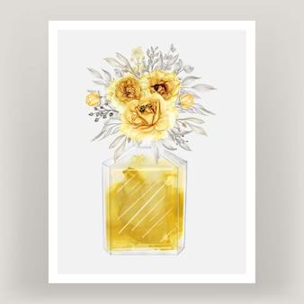 Perfume rosa oro amarillo acuarela ilustración