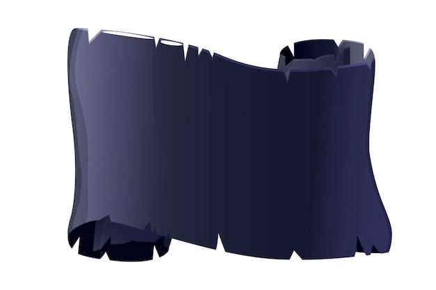Pergamino antiguo papel negro, plantilla en blanco para la interfaz de usuario del juego
