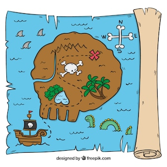 Pergamino dibujado a mano de isla con tesoro pirata