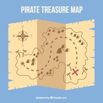 Pergamino con mapa del tesoro en diseño plano