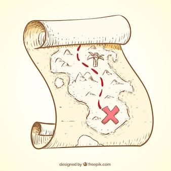 Pergamino retro con ruta del tesoro pirata