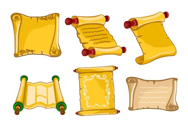 Pergaminos antiguos. rollos de papel viejos