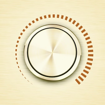 Perilla o botón de volumen metálico cepillado dorado redondo con una escala roja que muestra decibelios crecientes y salida de sonido en música electrónica o equipo de transmisión con icono de vector de sombra dimensional