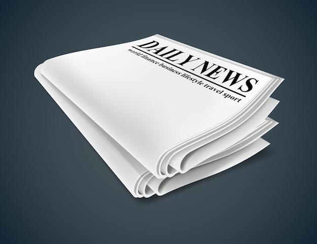 Periódico aislado sobre fondo oscuro