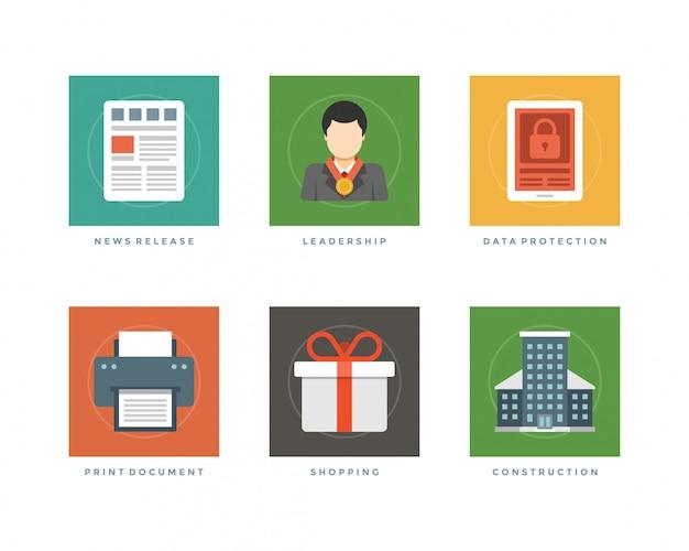 Periódico comercial del lanzamiento de noticias del diseño plano, hombre de negocios del liderazgo, pc de la tableta de la protección de datos, documento de la impresión