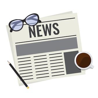 Periódico, diario noticias prensa revista lectura concepto. periódico con vasos, taza de café y lápiz.