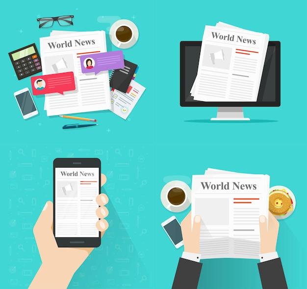 Periódico en el escritorio de la mesa y papel de noticias en línea digital en computadora y aplicación de teléfono celular caricatura plana