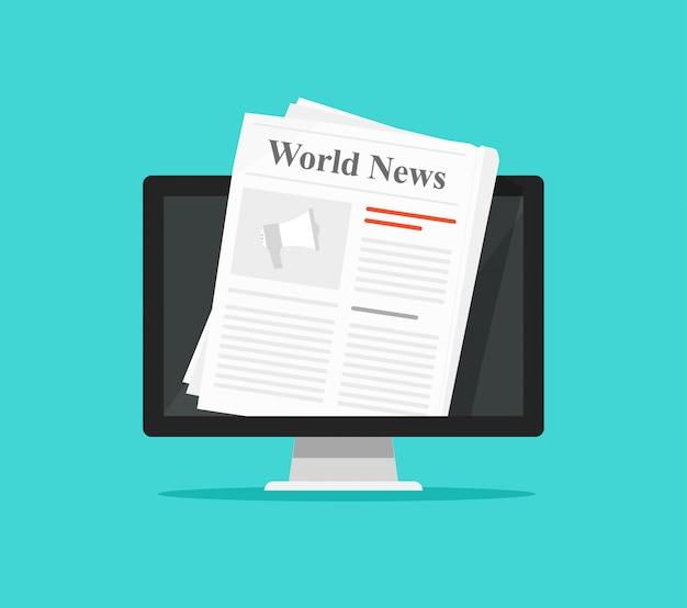 Periódico en la ilustración de la pantalla de la computadora