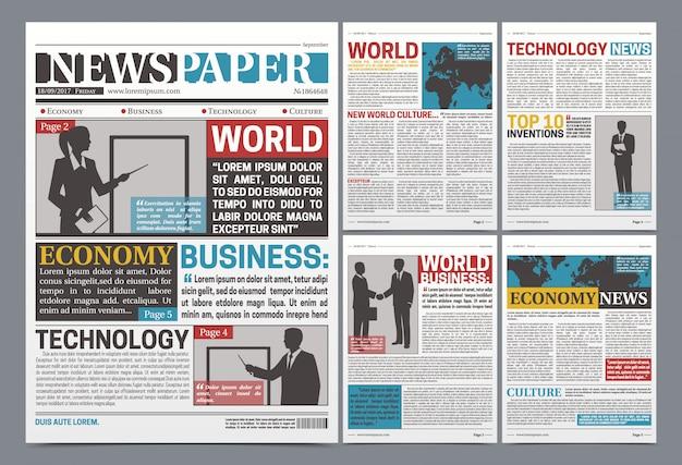Periódico en línea plantilla realista