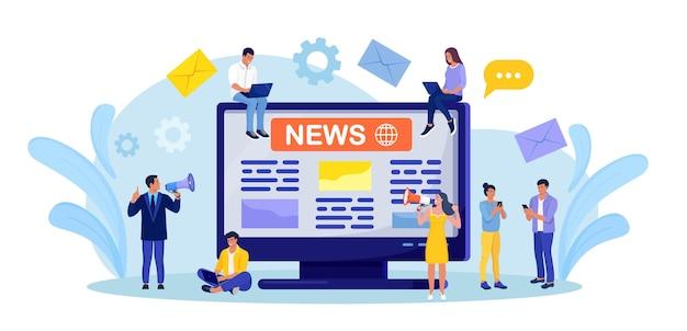 Periódico o periódico en la pantalla de la computadora. personas que leen la revista de noticias del mundo en un dispositivo digital. concepto de negocio de medios online. hombre y mujer anuncia noticias por megáfono