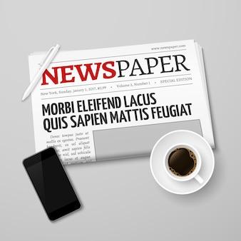 Periódico, sartén, taza de café y teléfono inteligente
