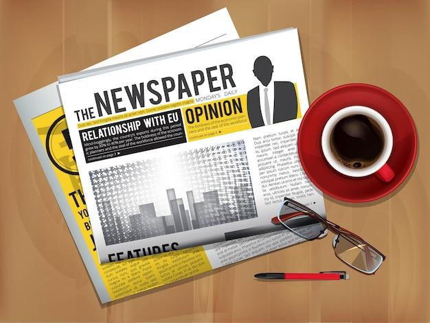 Periódico con taza de café. vista superior de la cubierta de prensa de revistas o periódicos en las noticias de desayuno de mesa con imagen de vector de té caliente