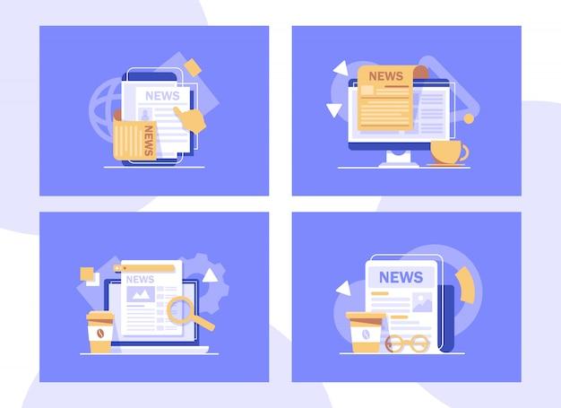 Periódicos y tazas de café, café de la mañana con noticias mundiales, ilustración del icono de diseño plano