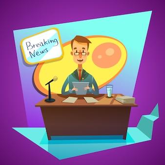 Periodista de ancla en estudio de televisión anuncia noticias de última hora estilo de dibujos animados retro