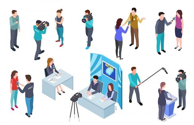 Periodista isométrica. camarógrafo, equipo de televisión, estudio de prensa, noticias, periodistas, medios de comunicación, radiodifusión, entrevistas de radio.