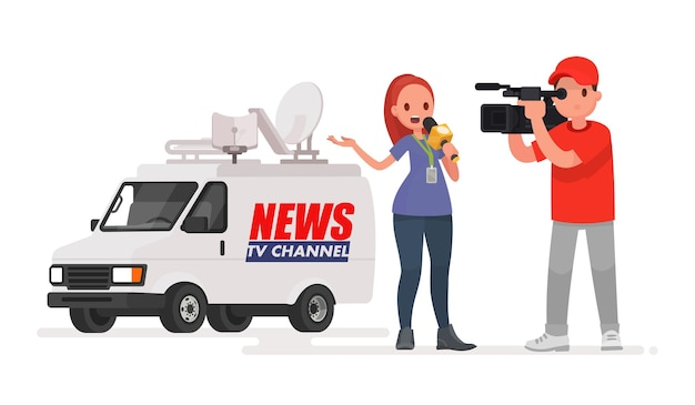 Periodista realiza un reportaje desde el lugar de los hechos. corresponsal de profesión y camarógrafo. coche del canal de noticias. en un estilo plano