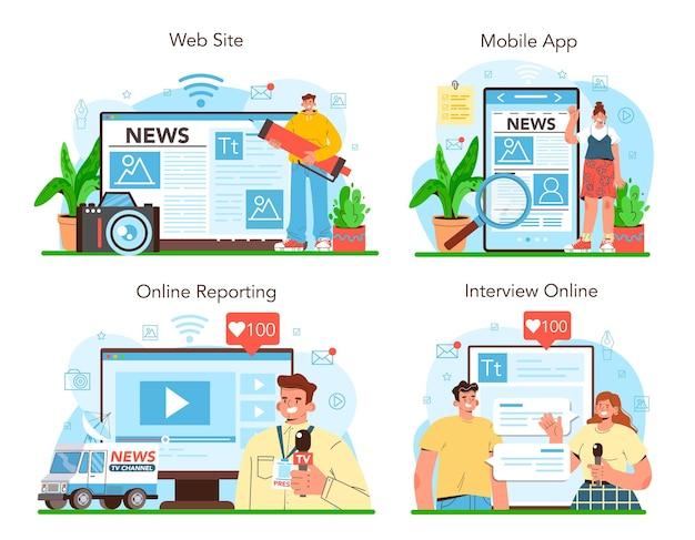 Periodista, servicio en línea o plataforma, periódico, internet y radio.