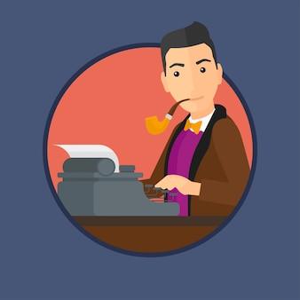 Periodista trabajando en máquina de escribir retro.