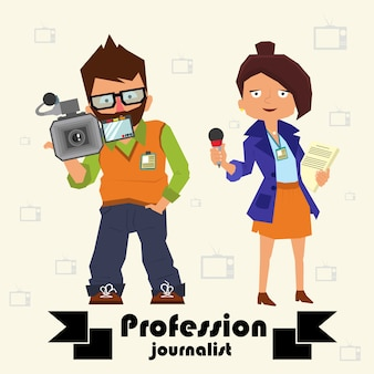 Periodistas profesionales. operador y periodista.