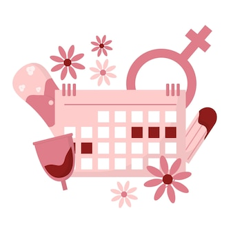 Período de menstruación ilustración de tampón accesorio menstrual menstruación femenina