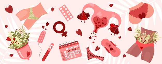 Período menstrual. copa menstrual, tampones, calzoncillos, útero y otros productos de cuidado personal.